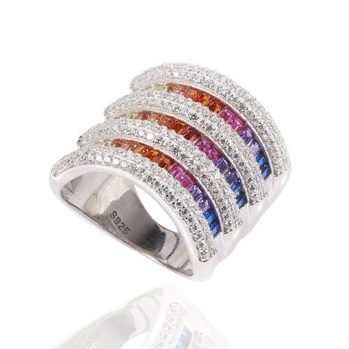 sterling silver rainbow ring - ultra-wide design