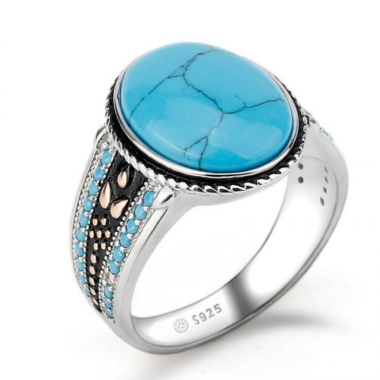 925 sterling silver turquoise ring for men with oval blue stone