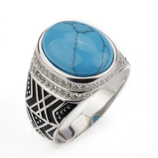 925 sterling silver ring for men  - vintage design - turquoise gemstone with AAA Zircon