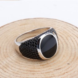 925 sterling silver ring for men with black cubic zirconia stones - vintage style