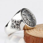 925 sterling silver tibetan six words' mantra ring for men