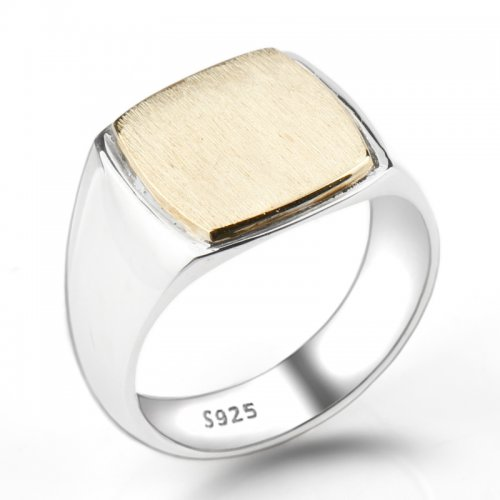 925 sterling silver elegant square ring for men