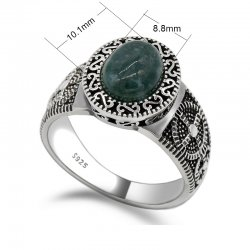 925 sterling silver ring for men with oval green Agate stone -  retro style