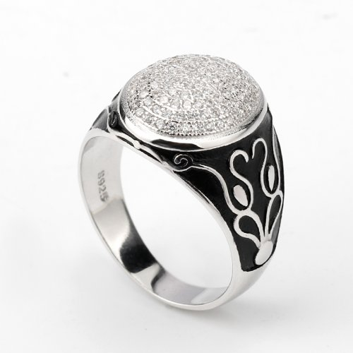 925 sterling silver round ring for men with cz stones