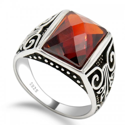 925 sterling silver classic vintage ring for men with AAA zirconia gemstone