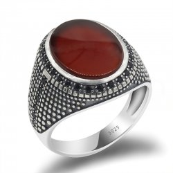 925 sterling silver ring for men with red Agate stone