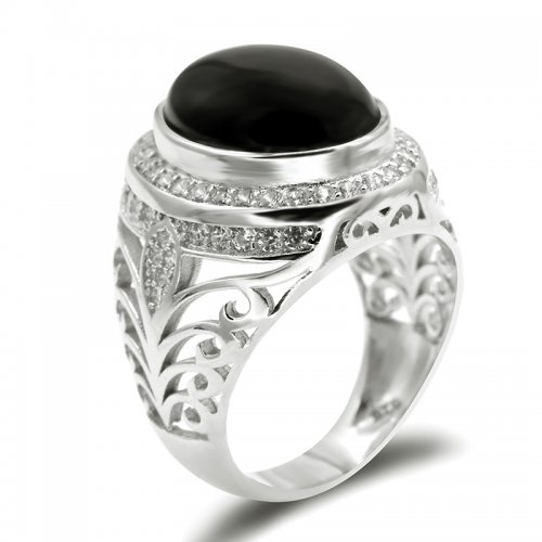 925 sterling silver men rings ,  white gold plated ,  with black Agate stone and cubic zirconia