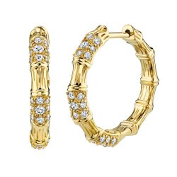 Gold plated bamboo shape hoop earring