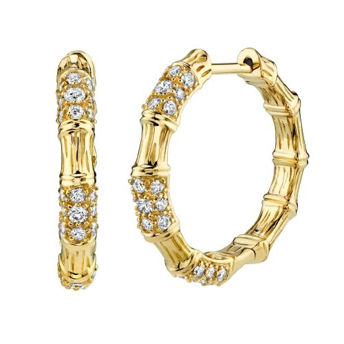 Gold plated bamboo shape hoop earring