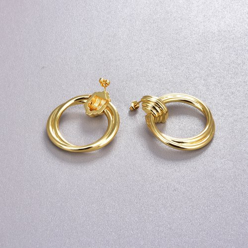 18k Gold Large Round Hoop Earrings