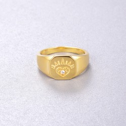 open heart signet ring - 18k gold plated silver
