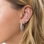 diamond crystals hoop earrings - white gold