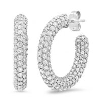 diamond crystals hoop earrings - white gold