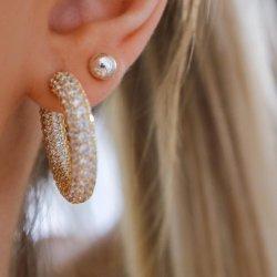 diamond crystals hoop earrings - 18k gold plated