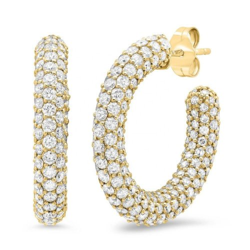 diamond crystals hoop earrings - 18k gold plated