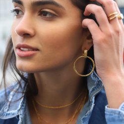 Large Round Hoop Earrings-18K gold plated silver