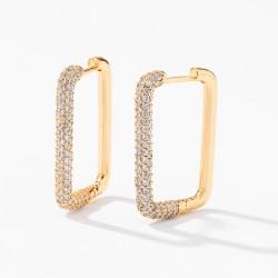 Square Diamond Hoop Earrings