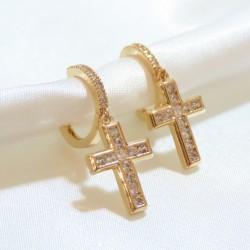 gold plated cross earring