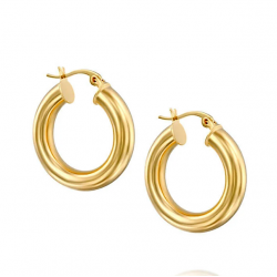 tube hoop earrings - 18k gold plated silver