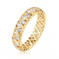 Heart band ring 18k gold plated silver