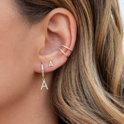 Initial hoop earrings in gold plated sterling silver and cubic zirconia