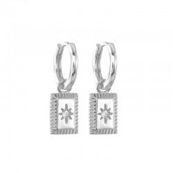 Star hoop earring in 925 sterling silver