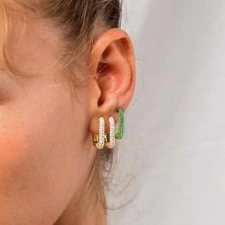 925 Sterling silver micro-inlaid zircon hoop earrings