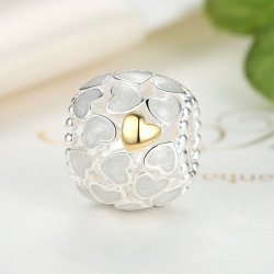 silver bead with white and gold hearts
