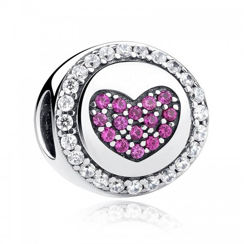 sterling silver heart shaped bead