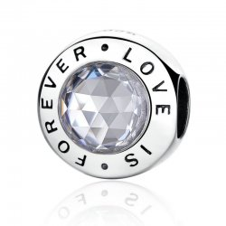 """ LOVE IS FOREVER "" silver bead"