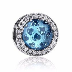 blue hearts cubic zirconiabead