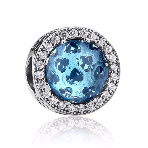 blue hearts cubic zirconia bead