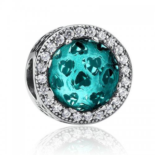 hearts aquamarine czbead for bracelet