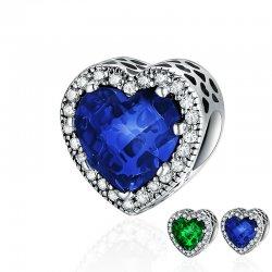 blue heart cubic zirconia bead