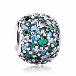 silver bead with blue-green zirconia