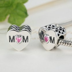 """MOM""  silver bead with zirconia"