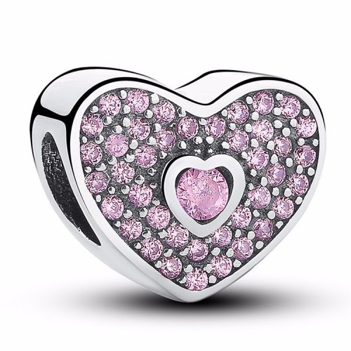 Heart bead with pink zirconia