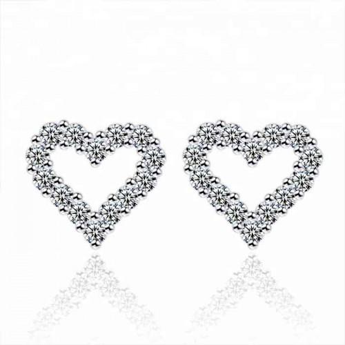 Heart- Shape Design Sterling Silver Full Cubic zircon  Diamond Earrings
