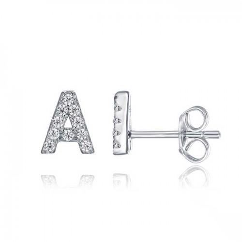 Initial Letter stud earrings in sterling silver & cubic zirconia