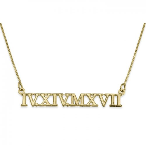 18K Gold Plated Roman Numeral Necklace
