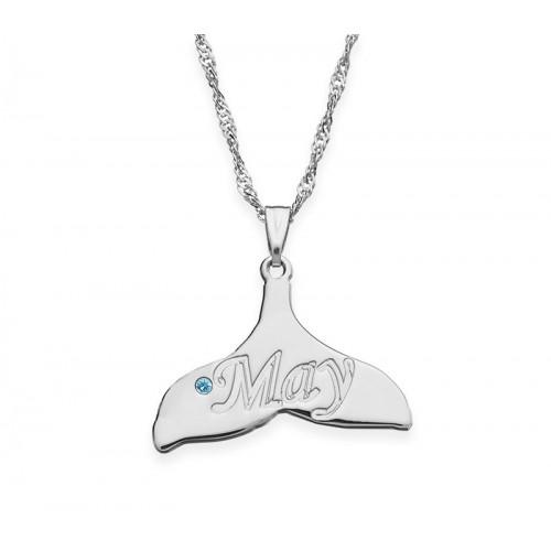Silver Dolphin Tail Necklace With Swarovski Birthstone