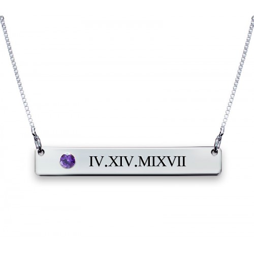 Silver Roman Numerals Bar Necklace With Swarovski Birthstone