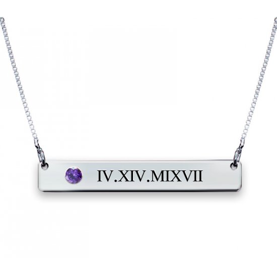 Silver Roman Numerals Bar Necklace With Swarovski Birthstone