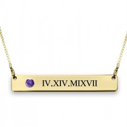 Gold Plated Roman Numerals Bar Necklace With Swarovski Birthstone