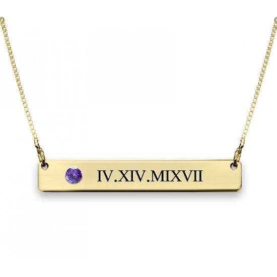 Gold Plated Roman Numerals Bar Necklace With Swarovski Birthstone