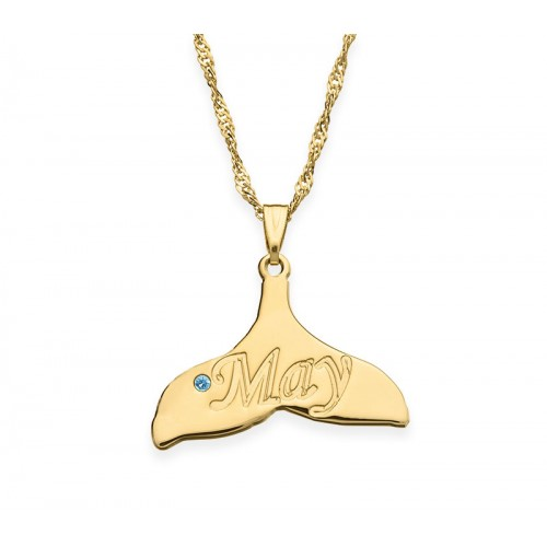 18K Gold Plated Dolphin Tail Necklace With Swarovski Birthstone