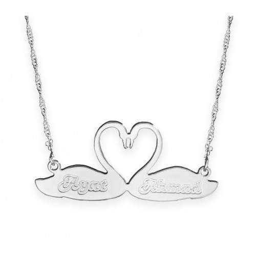 Sterling Silver Engraved Swans Love Necklace