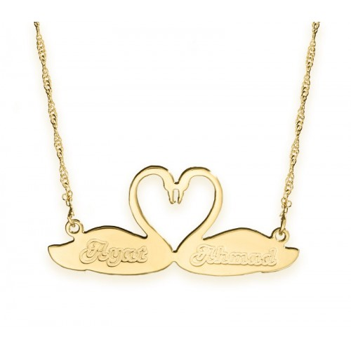 18K Gold Plated Engraved Swans Love Necklace