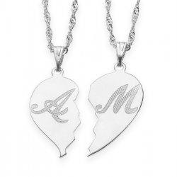 Silver Broken Heart Initial Couple Necklace