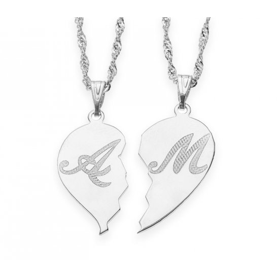 Silver Broken Heart Initial Couple Necklace